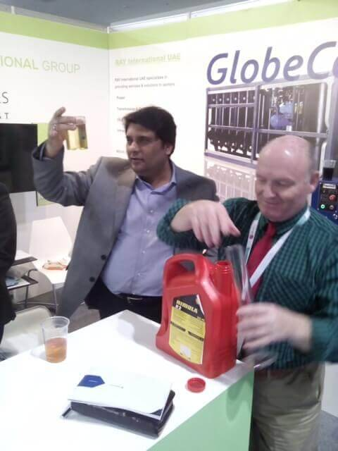 GlobeCore samples of reclamation of dielectric oils in Middle East Electricity 2016 exhibition in Saudi Arabia